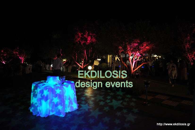 φωτισμοί δεξίωσης γάμου εξωτερικού χώρου της EKDILOSIS event production